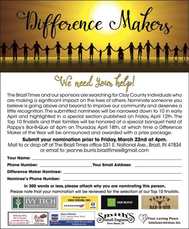 Difference Makers nomination form - CLICK HERE