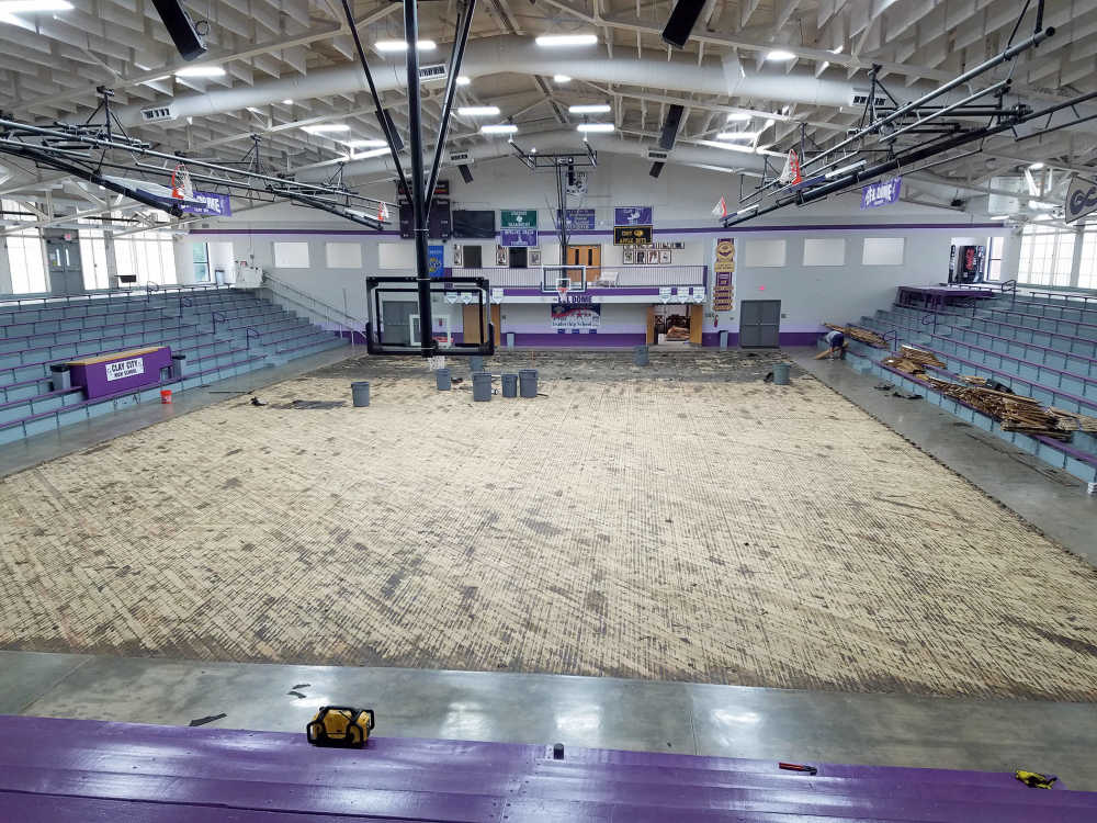 Historic Clay City H.S. gym floor being replaced